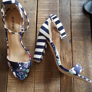 Stripe and floral strappy heels
